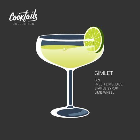 Cocktail Gimlet glass lime wheel black vector illustration Иллюстрация