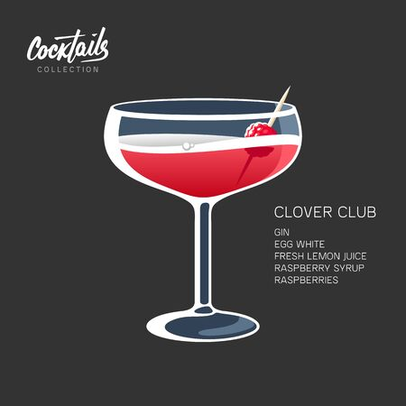 Clover Club cocktail drink glass raspberry vector illustration