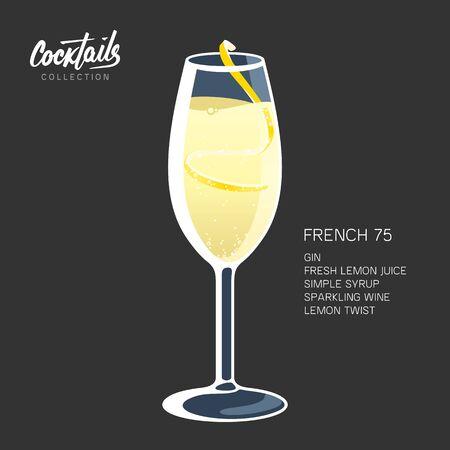 French 75 Cocktail Sparkling lemon glass vector illustration Иллюстрация