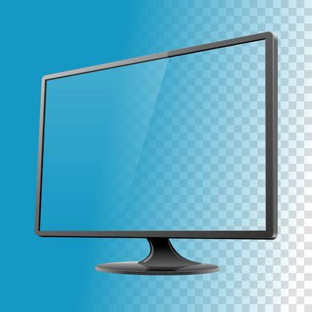 Black display monitor mockup screen reflect vector illustration