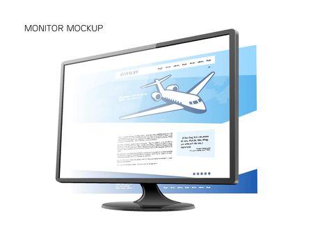 Black monitor mockup screen white reflect vector illustration