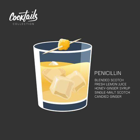 Scotch Whiskey Penicillin Drink Cocktail Ginger vector illustration