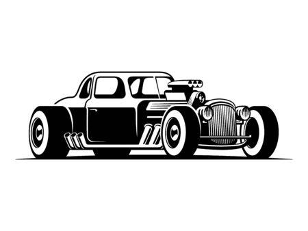 Hot rod classics musclecar vintage car vector illustration