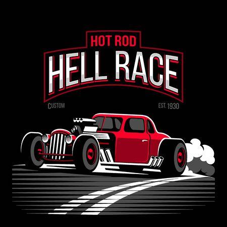 Vintage red hot rod custom car vector illustration Illustration