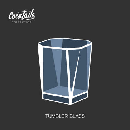 Tumbler glass black background alcohol cocktail vector illustration  イラスト・ベクター素材
