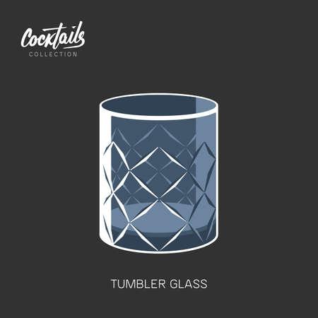 Tumbler whiseky cognac crystal glass black background vector