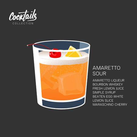 Amaretto sour cocktail drink lemon cherry vector illustration