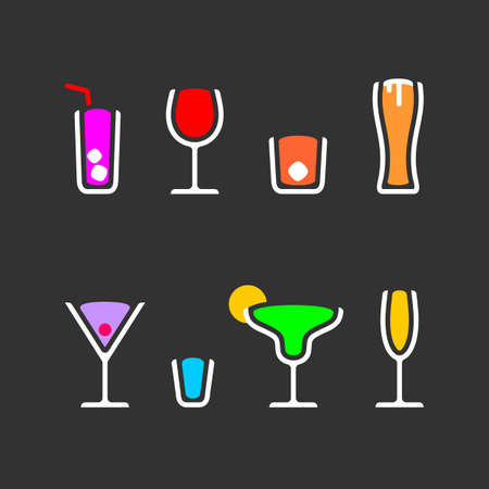 Alcohol drinks cocktails icon set color vector illustration