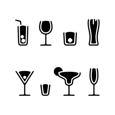 Alcohol drinks cocktails icon set black vector illustration  イラスト・ベクター素材