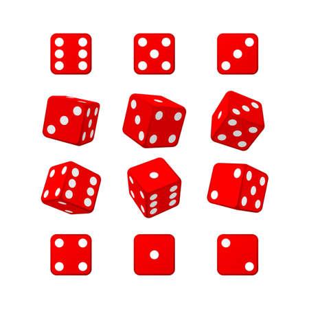 Dice set red casino white background vector illustration  イラスト・ベクター素材