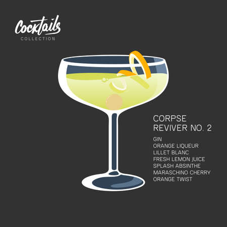 After party cocktail Corpse Reviver 2 drink twist 写真素材
