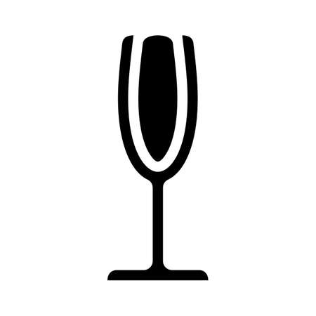 Glass champagne black icon drink sign vector illustration