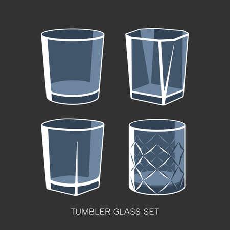 Empty tumbler glass set whisky cognac vector illustration