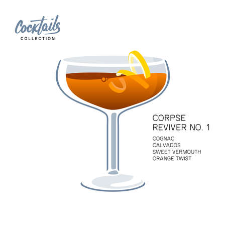 Cocktail Corpse Reviver No. 1 on white background. Alcoholic drink with orange twist vector illustration