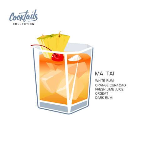 Cocktail Mai Tai for menu, cocktail cards. Contemporary Classic cocktail. Longdrink. Polynesian-style drink popular tiki cocktail with a slice of pineapple and cherry vector illustration on white