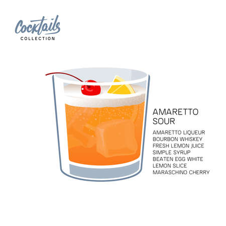 Hand Drawn Colorful Amaretto Sour Summer Cocktail Drink glass with lemon and cherry. Handwritten Cocktail Recipe vector illustration on white