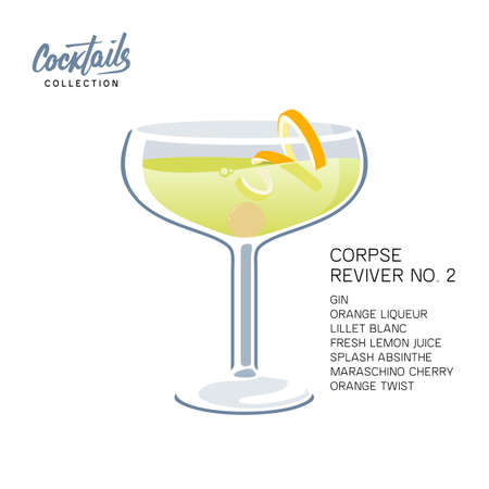 After party cocktail Corpse Reviver No. 2 on white background. Alcoholic drink with orange twist and maraschino cherry vector illustration  イラスト・ベクター素材