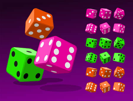 Set of isometric dice combination. Pimk poker cubes, green and orange dice isolated vector illustration. Collection of gambling app and casino template Illustration