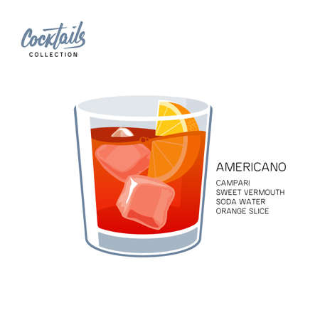 Americano or Negroni cocktail vector illustration. Americano drink, consisting of sweet red vermouth, soda water with orange slice. Isolated on white background