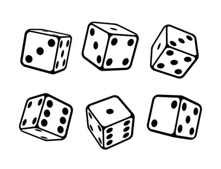 Game dice isometric icons set, isolated on white background. Dice in a flat and linear design from one to six. Vector illustration