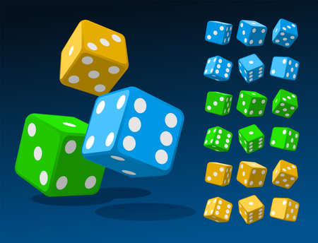 Set of isometric dice combination. Blue poker cubes, green and golden dice isolated vector illustration. Collection of gambling app and casino template