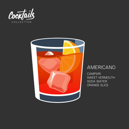 Americano or Negroni cocktail vector illustration. Americano drink, consisting of sweet red vermouth, and soda water with orange slice. Isolated on black background  イラスト・ベクター素材