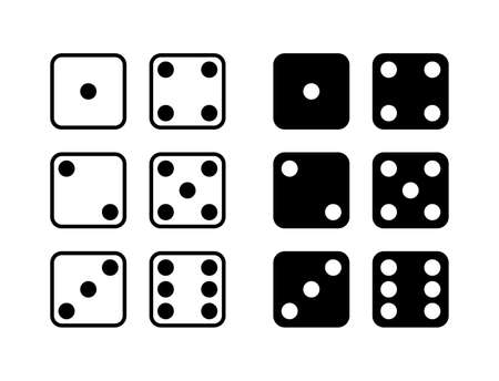 Game dice icons. Set of game dice, isolated on white background. Dice in a flat and linear design from one to six. Vector illustration