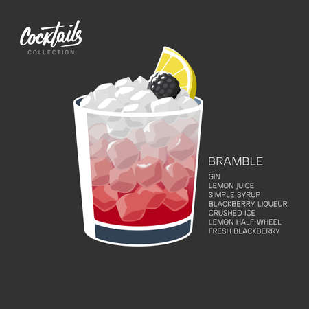 Glass of Bramble cocktail made of gin, lemon juice, sugar sypup and blackberry liqueur. Alcohol drink with crushed ice, lemon wheel and blackberry on black background vector illustration