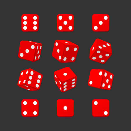 Set of isometric red casino dice on black background. Red cubes vector illustration