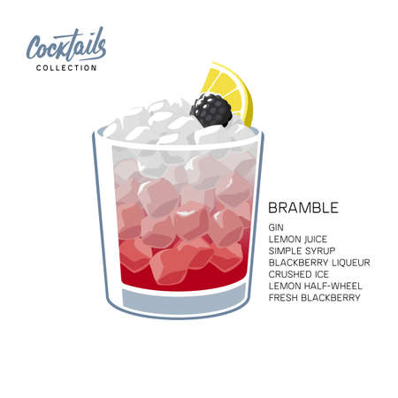 Glass of Bramble cocktail made of gin, lemon juice, sugar sypup and blackberry liqueur. Alcohol drink with crushed ice, lemon wheel and blackberry on white background vector illustration