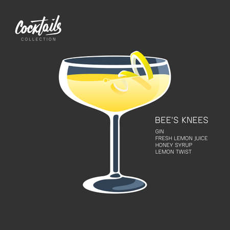 Bee's Knees cocktail on black backgound. Alcohol drink, made with gin, lemon juice and honey. Cocktail glass with lemon twist vector illustration