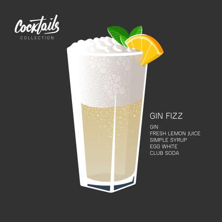 Gin Fizz cocktail glass mint leaf orange illustration