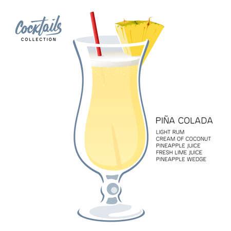 Pina Colada cocktail drink glass straw pineapple illustration