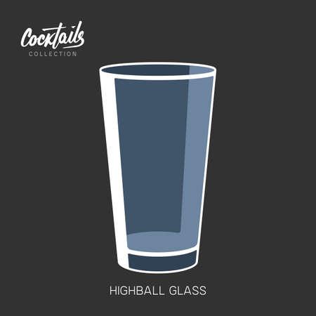 Highball glass sign simple icon empty vector illustration  イラスト・ベクター素材