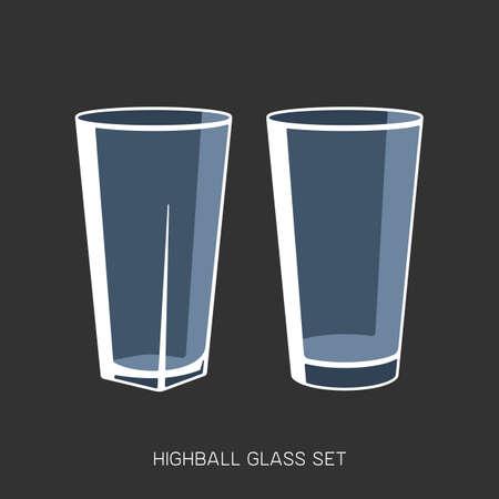 Highball glass set sign simple empty vector illustration  イラスト・ベクター素材