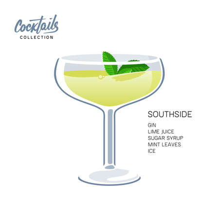 Southside mint leaves cocktail glass lime drink illustration  イラスト・ベクター素材