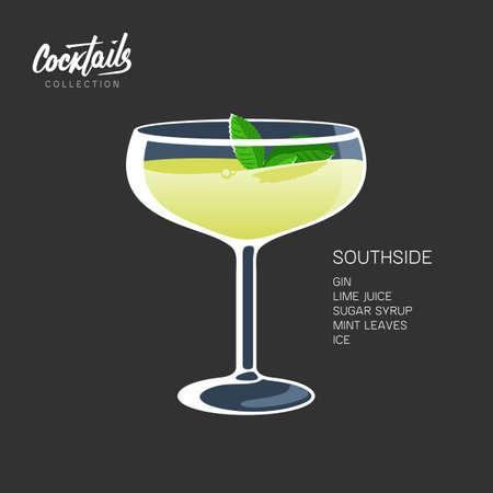 Southside mint leaves cocktail glass lime drink illustration Ilustracja