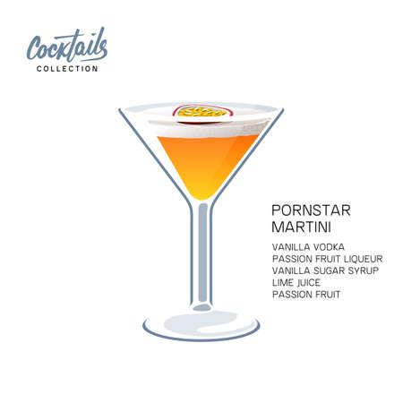 Pornstar martini cocktail recipe passion fruit vector illustration  イラスト・ベクター素材
