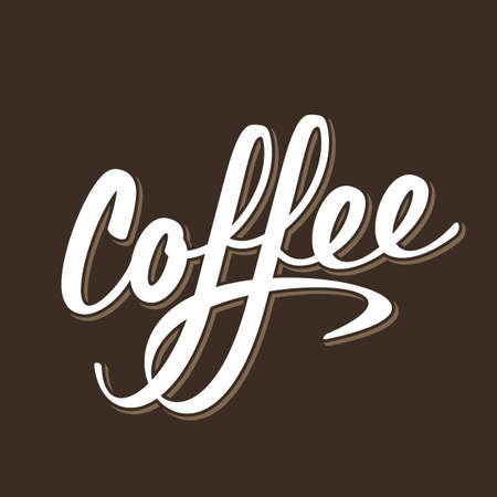 Coffee lettering logo sign white letters vector illustration