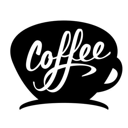 Coffee cup silhouette lettering calligraphy sign vector illustration  イラスト・ベクター素材