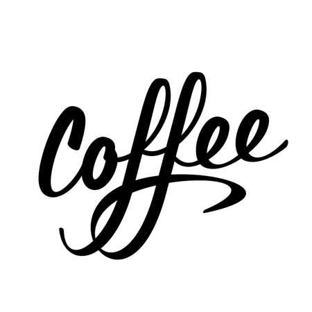 Coffee lettering logo sign black letters vector illustration