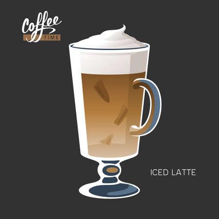 Glass cup iced coffee latte macchiato vector illustration  イラスト・ベクター素材