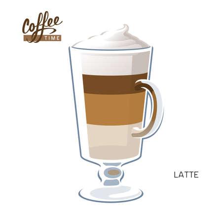 Glass cup coffee latte macchiato cappuccino vector illustration