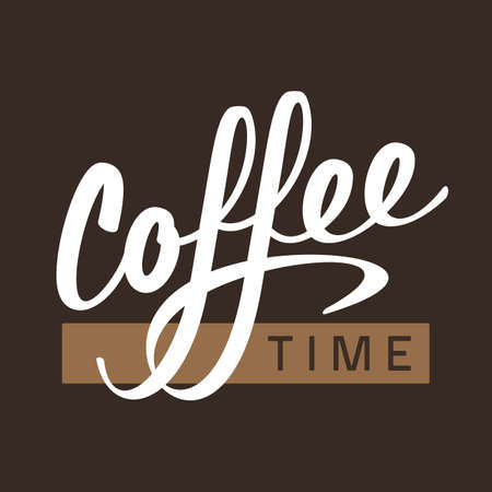 Coffee time lettering logo sign letters vector illustration