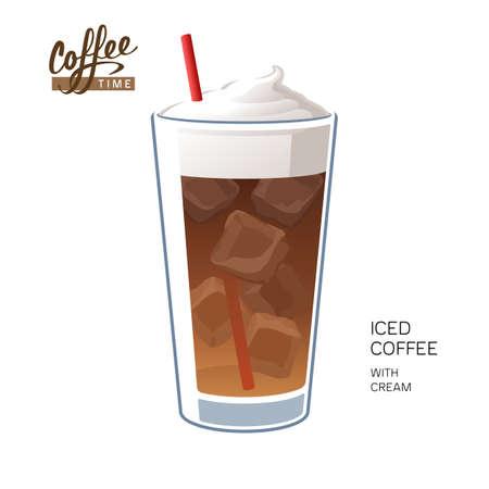 Glass iced coffee with straw cream vector illustration  イラスト・ベクター素材