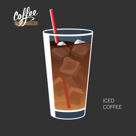 Glass of iced coffee with straw vector illustration