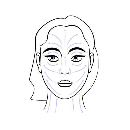Beautiful woman face massage lines scheme vector illustration