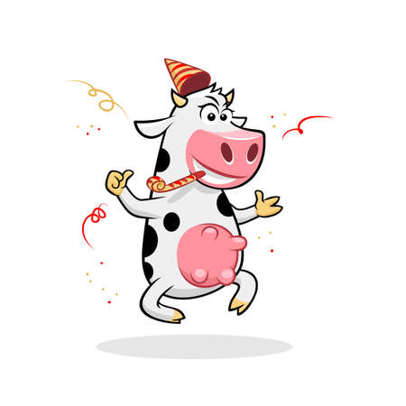 Celebrating funny jumping cow thumb up vector illustration