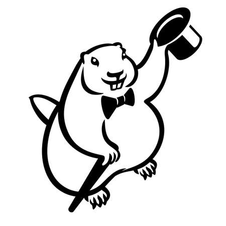Marmot groundhog with hat cylinder, butterfly tie and cane. Groundhog Day. Black sign icon vector illustration