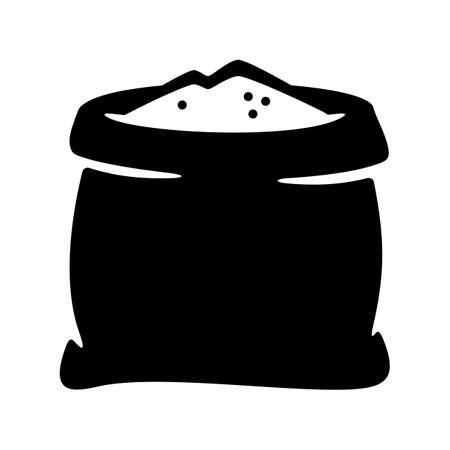 Open flour, rice, salt, sugar sack icon. Flat illustration of open canvas sack vector illustration Illustration